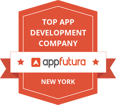 Badge with text reading 'Top App development company' from appfutura