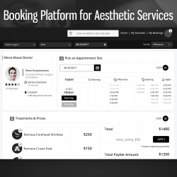 Booking platform for aesthetic services
