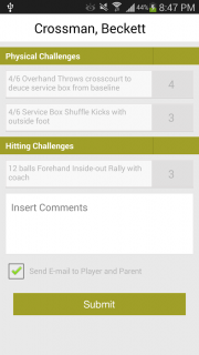 Android Application for Tennis Player development program