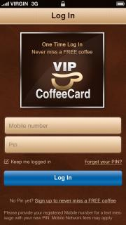 VIP Coffee Card – IPhone, Android And BB App + Website