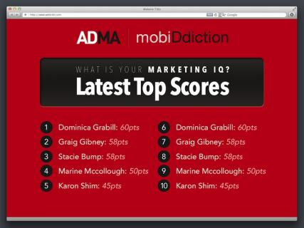 ADMA - What's your Marketing IQ? HTML5 Web App