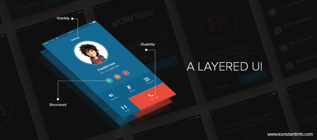 A layered UI